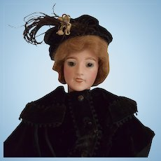 French Fashion Bisque Head Character Lady Doll by Lanternier