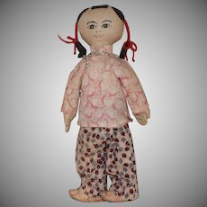 Vintage Cloth Chinese Doll in Original Costume