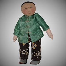 Vintage Cloth Chinese Doll with Needle Sculpted Face