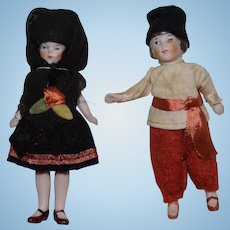 German All Bisque Doll Pair in Russian Ethnic Costumes