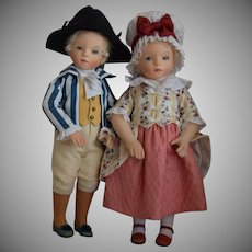 George and Martha Washington Waltzing Cloth Felt Artist Dolls by R. John Wright