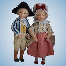 George and Martha Washington Waltzing Cloth Felt Artist Dolls by R. John Wright