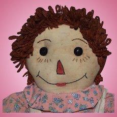 Vintage Homemade Raggedy Ann Cloth Doll
