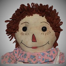 Vintage Homemade Raggedy Ann Cloth Doll