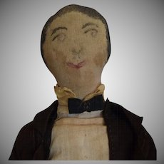 Antique Folk Art Cloth Gentleman Doll