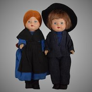 Composition Boy and Girl in Original Amish Costumes