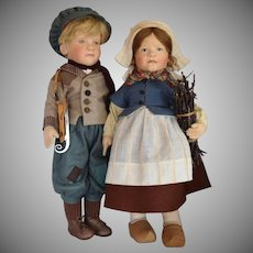 R. John Wright Hans and Gretel Brinker Felt Dolls