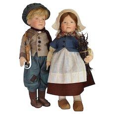 R. John Wright Hans and Gretel Brinker Felt Dolls