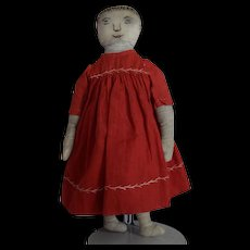 Antique Folk Art Cloth Doll in Red Dress