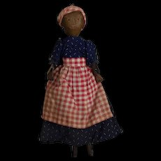 Antique Black Folk Art Peg Wooden Doll