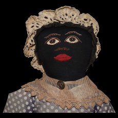 Antique Black Cloth Doll with Embroidered Facial Features