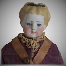 German Bisque Simon & Halbig Lady Doll with Molded Hair and Swivel Neck