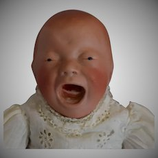 Rare German Bisque Head Character O.I.C. Crying Baby Doll