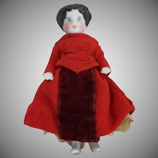 Antique German China Frozen Charlotte in Red Wool and Velvet Dress