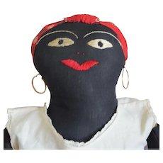Antique Black Cloth Folk Art Doll with Red Bandanna