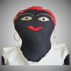 Antique Black Cloth Folk Art Doll with Red Bandanna