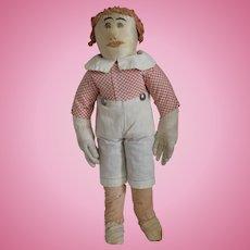 Antique Silk and Cotton Cloth Folk Art Boy Doll