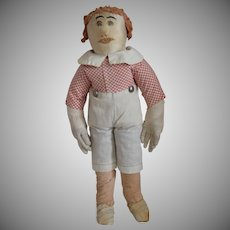 Antique Silk and Cotton Cloth Folk Art Boy Doll
