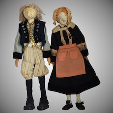 Antique French Wooden Artist Dolls in Ethnic Costumes