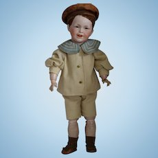 S.F.B.J. French Bisque Head Character Boy Doll with Flocked Hair