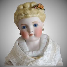 Kling German Bisque Parian Shoulderhead Doll with Fancy Hairstyle and Shoulder Plate
