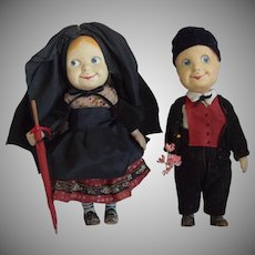 Rare French Character Googly Composition Dolls Hansi and Gretel