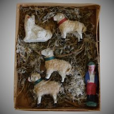 Antique German Papier Mache Shepherd, Sheep Dog, and Sheep in Original Box