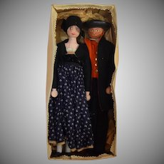 German Ethnic Costume Wooden Doll Pair in Original Box