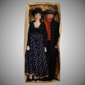 German Ethnic Costume Wooden Doll Pair in Original Box