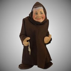Vintage Cloth Monk Doll with Humorous Expression