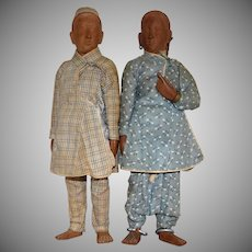 Vintage Wooden Pair of East Indian Dolls