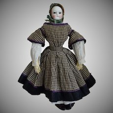 French Glass Eye China Shoulder Head Doll with Extensive Wardrobe