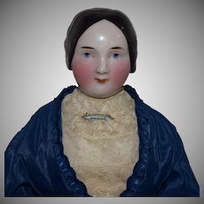 Early Kister German China Head Doll with Great Hairstyle