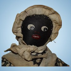 Antique Black Sateen Cloth Character Doll
