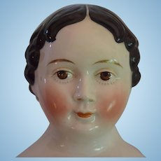 German Greiner Covered Wagon Hairstyle China Head Doll with Brown Eyes by Kloster Veilsdorf
