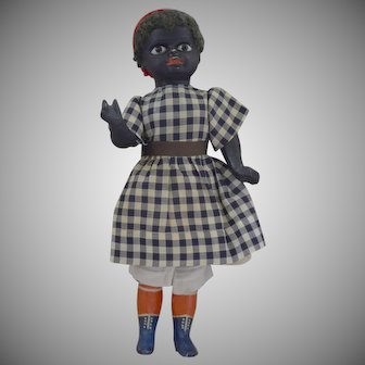 Wonderful Black German Character Papier Mache Doll