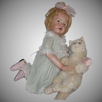 """Hildegard Gunzel OOAK Wax over Porcelain Doll """"Franziska"""" with Kitten"""