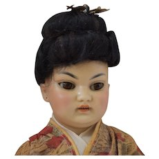 Fabulous Simon & Halbig German Bisque Head Asian Oriental Doll in Original Costume