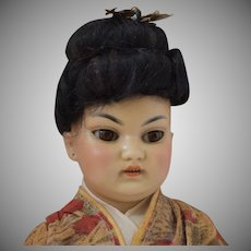 Fabulous Simon & Halbig German Bisque Head Asian Oriental Doll in Original Costume