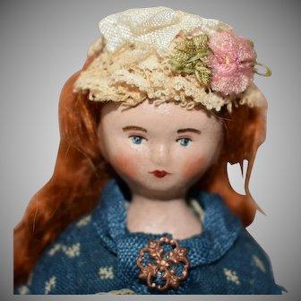 """Lora Soling OOAK Papier Mache Artist Doll """"Miss Lottie Casper"""""""