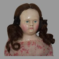 All Original German Papier Mache Shoulder Head Doll Made for the French Market