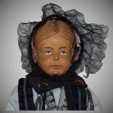 All Original Swiss Carved Wooden Shoulder Head Doll by Huggler