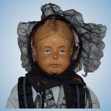 All Original Swiss Carved Wooden Shoulder Head Doll by Huggler