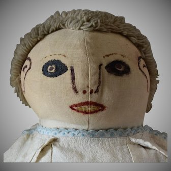 Antique Cloth Doll with Painted Face