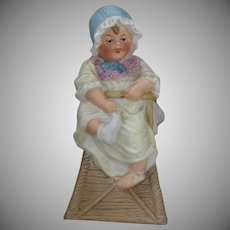 Darling Antique Bisque Figurine Piano Baby