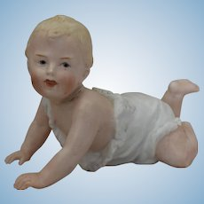 Gebruder Heubach All Bisque Piano Baby Figurine on Stomach