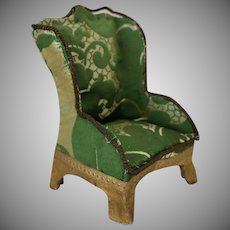 Green Fabric and Cardboard Wingback Doll House Chair