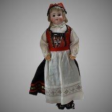 Early Kestner German Bisque Head Doll in Original Ethnic Costume