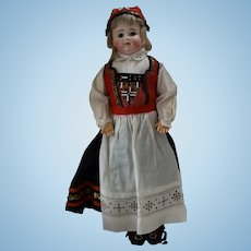 Early Kestner German Bisque Head Doll in Original Ethnic Costume