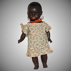 Black Painted Bisque German Doll with Toddler Body